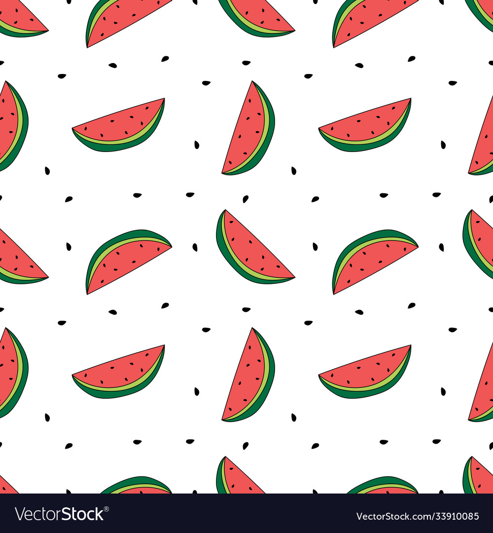 Seamless pattern watermelon slices with seeds