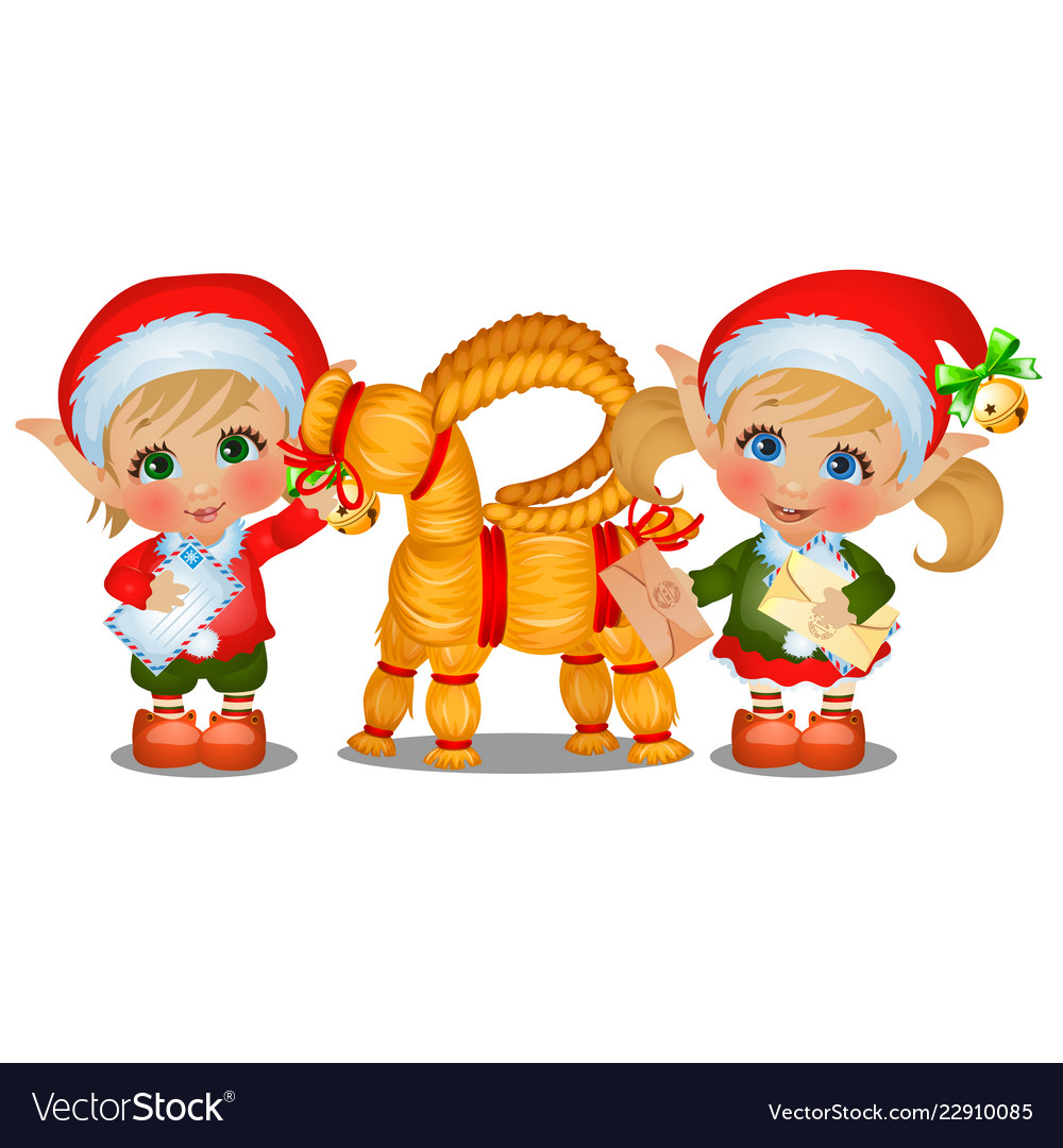 Set of girl and boy santas helpers with straw