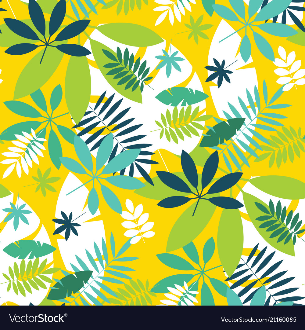 Simple green tropical leaves design pattern