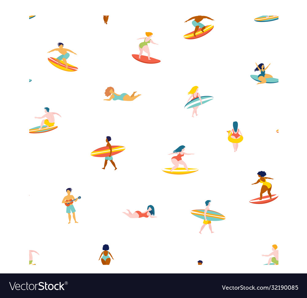 Surfing men women surf boards catching waves sea