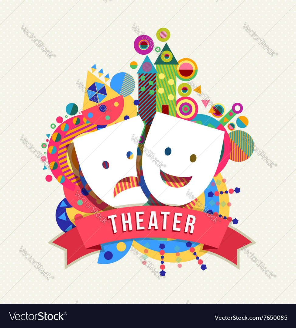 Theater mask icon concept label with color shapes