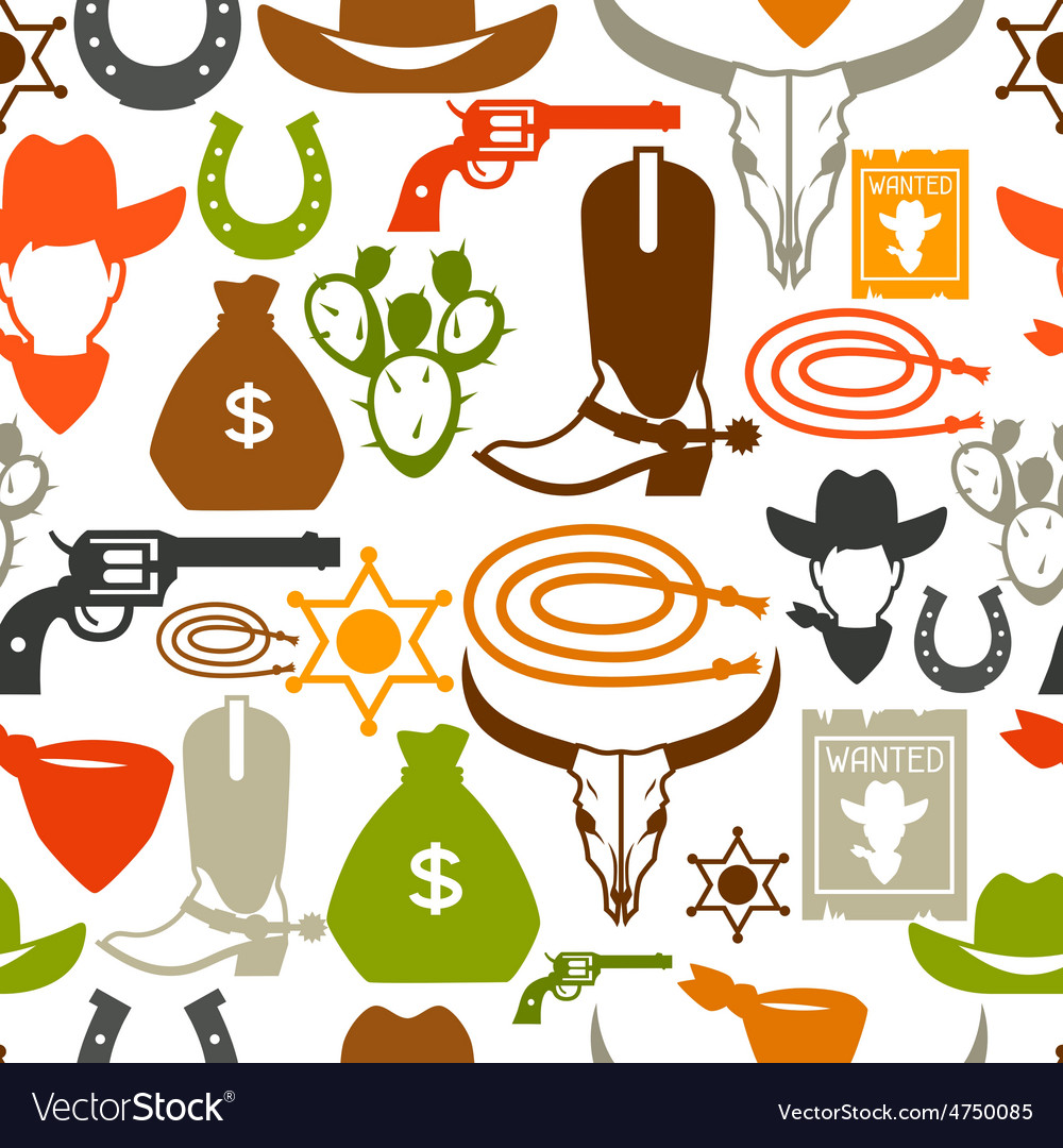 Wild west seamless pattern with cowboy objects and