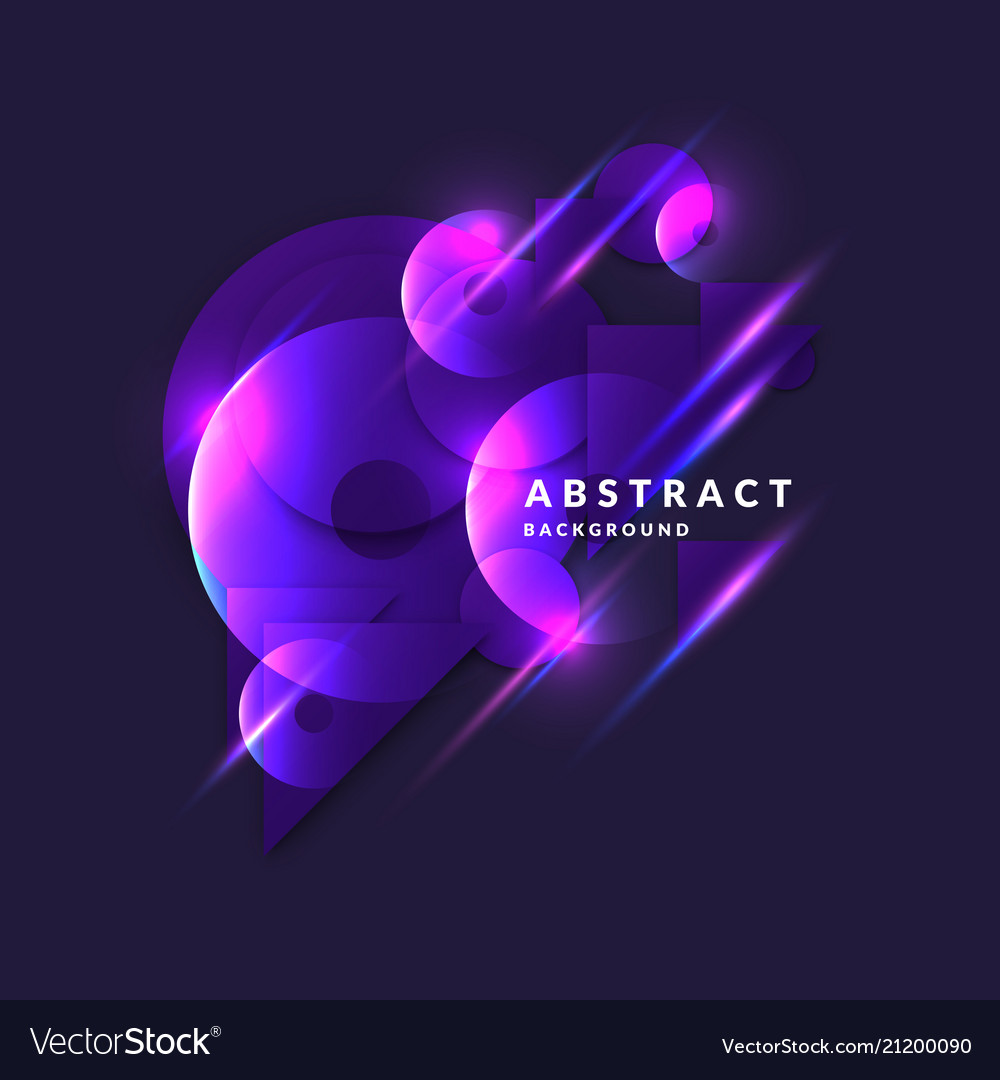 Abstract banner with neon circle on a dark