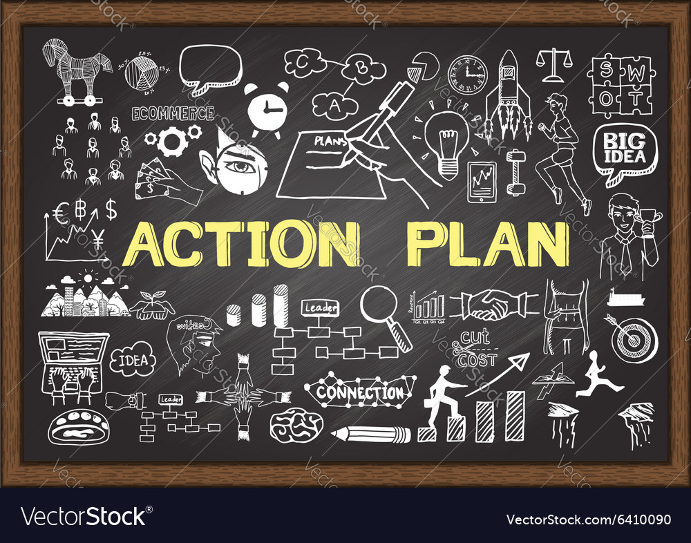 Action Plan on chalkboard