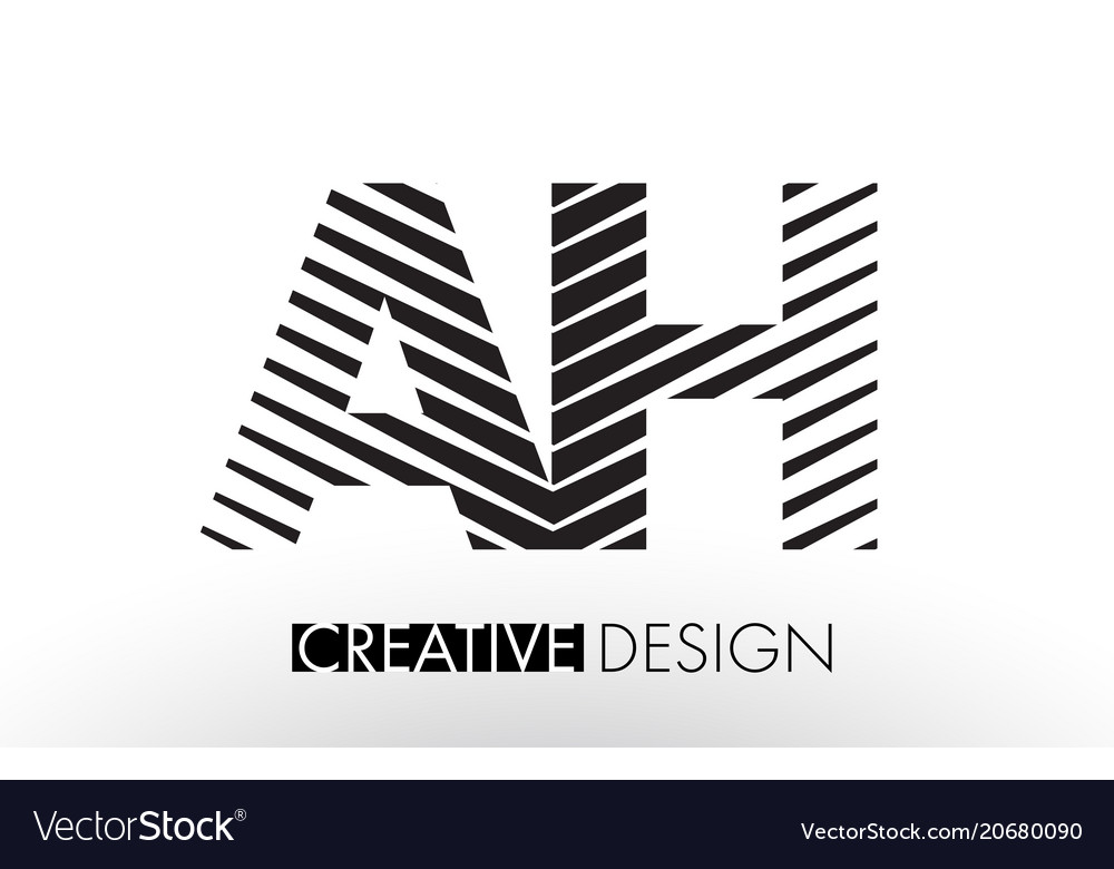 Ah a h lines letter design with creative elegant