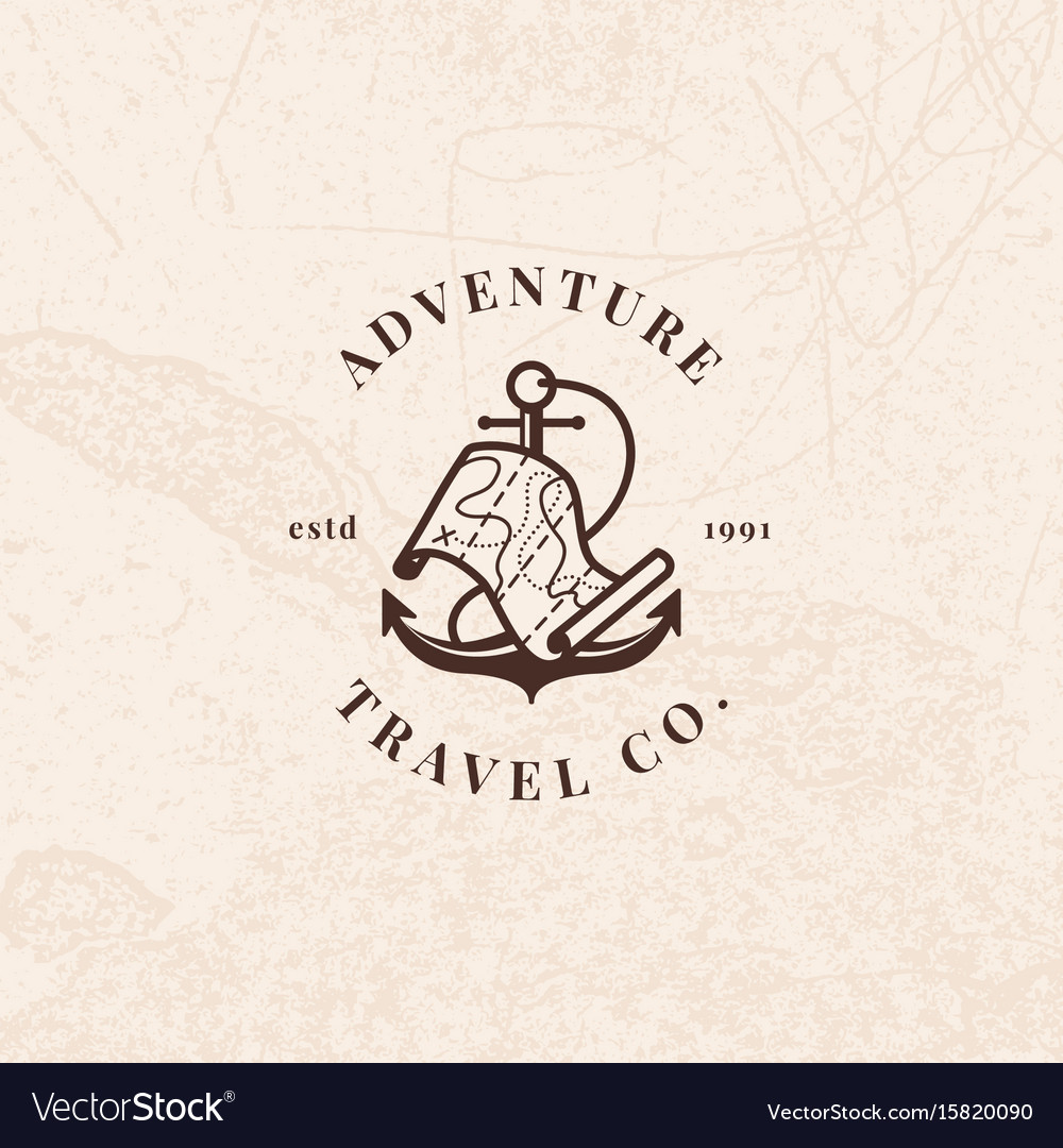 Anchor logo with treasure map in vintage style