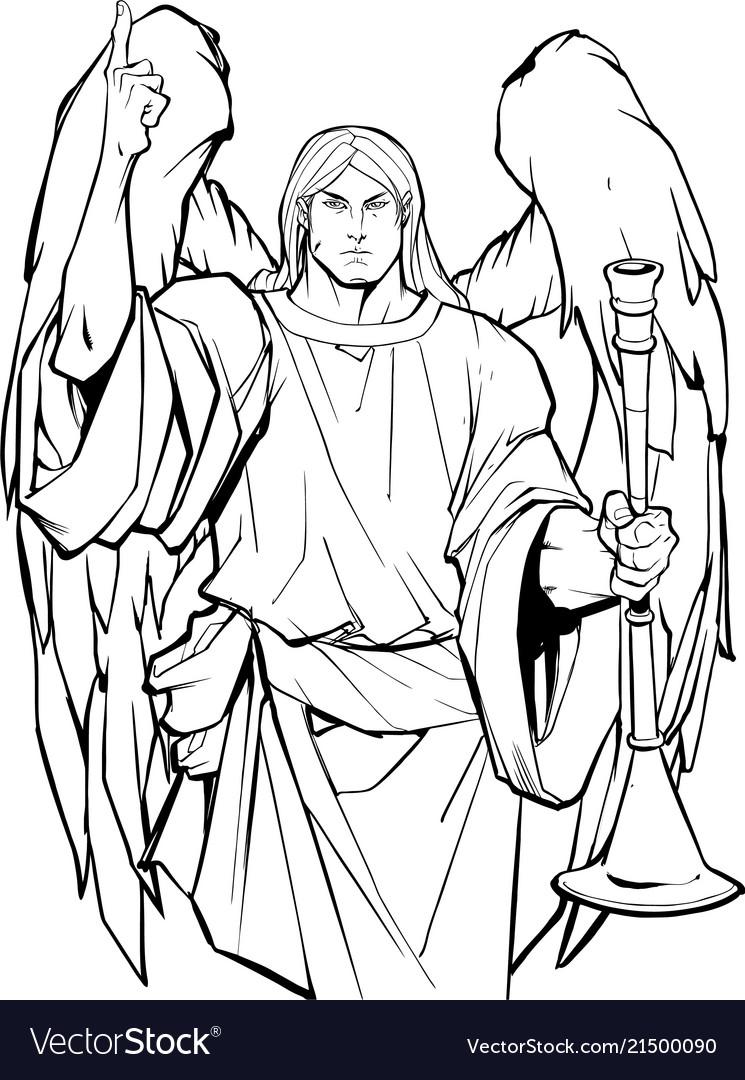 Archangel gabriel line art