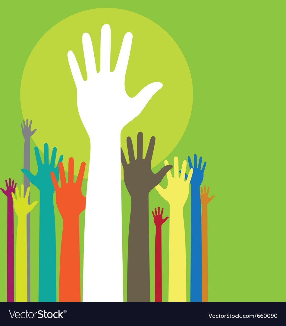 Background with raised hands and copy space on gre vector image