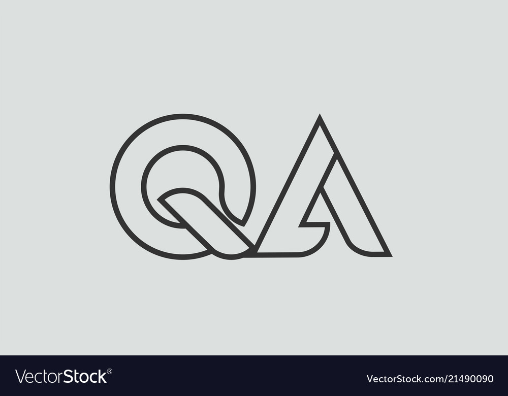 Black And White Alphabet Letter Qa Q A Logo Vector Image