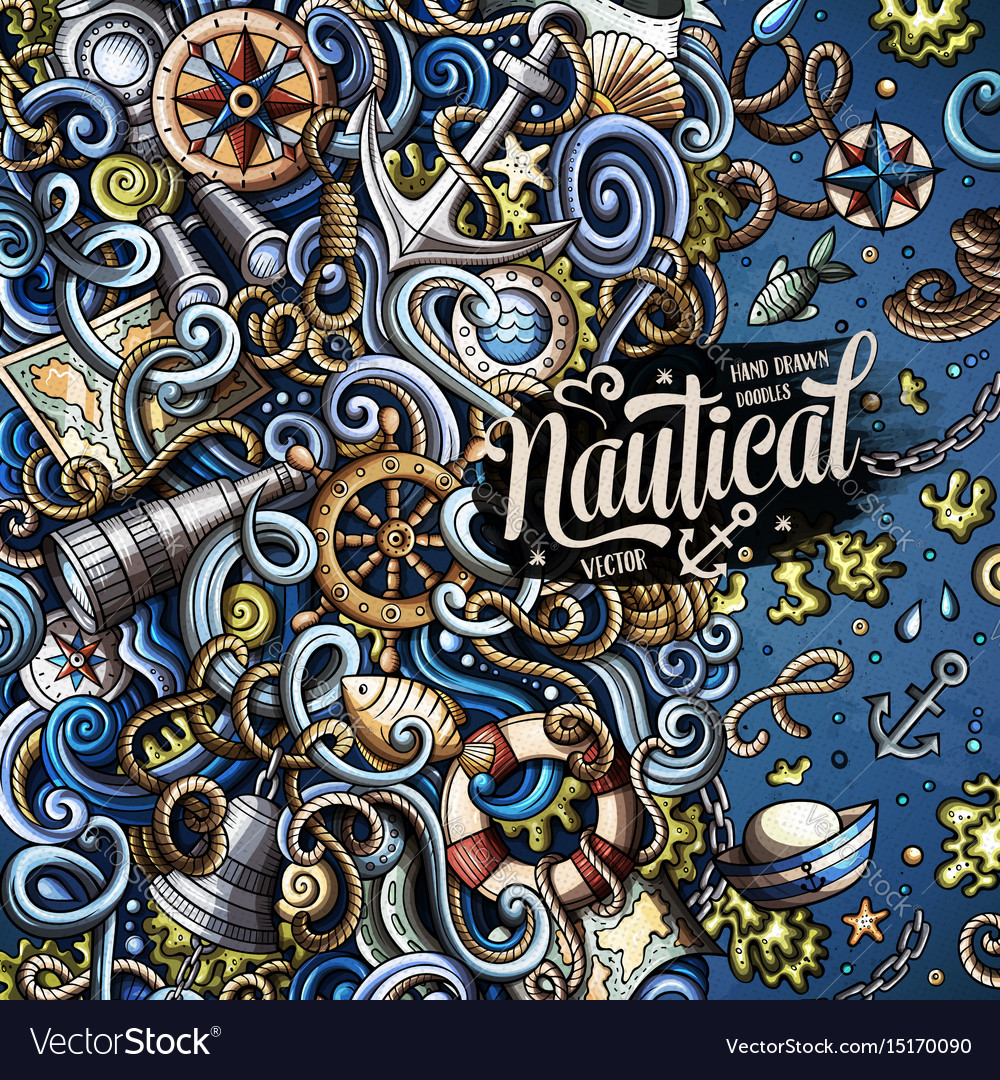 Cartoon nautical doodle frame