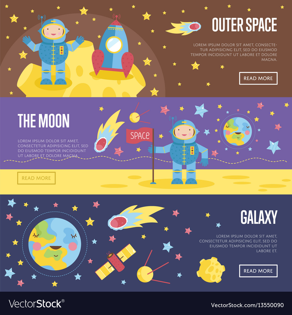 Collection of space theme cartoon web banners