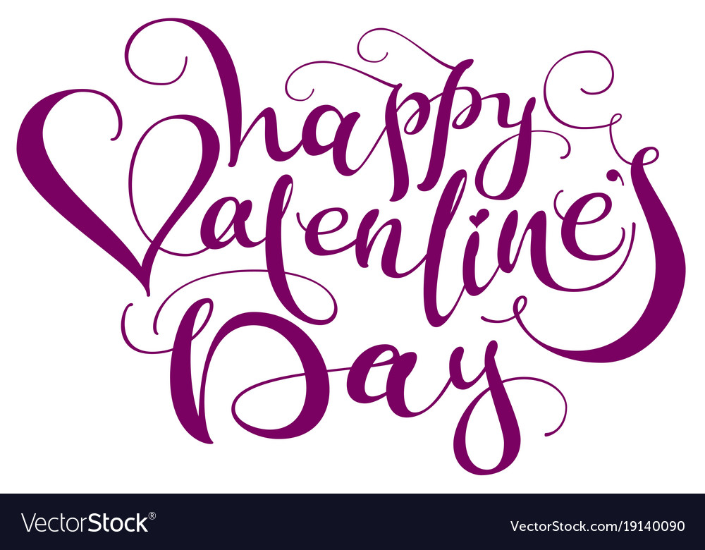Happy valentines day handwritten calligraphy text vector image