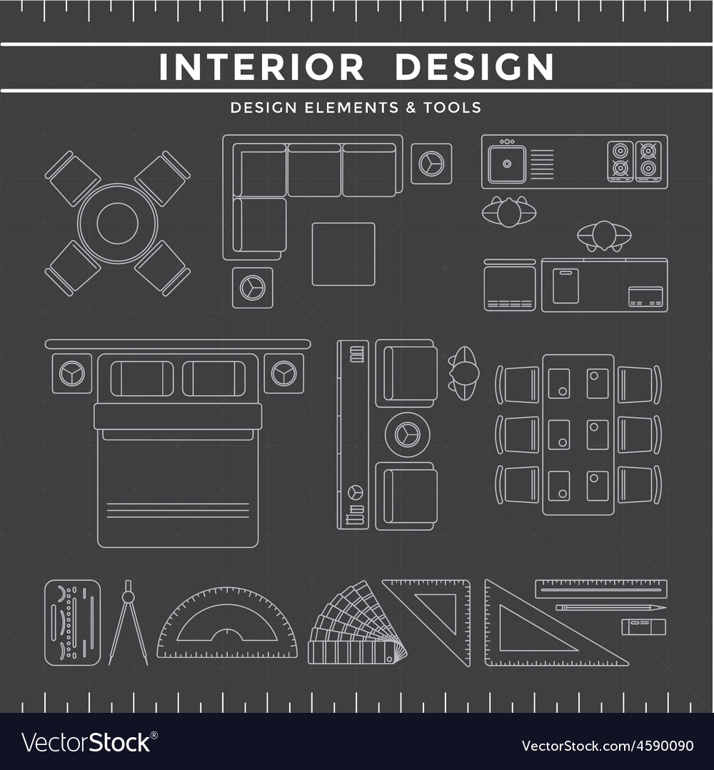 Interior Design Elements And Tools On Dark Vector Image
