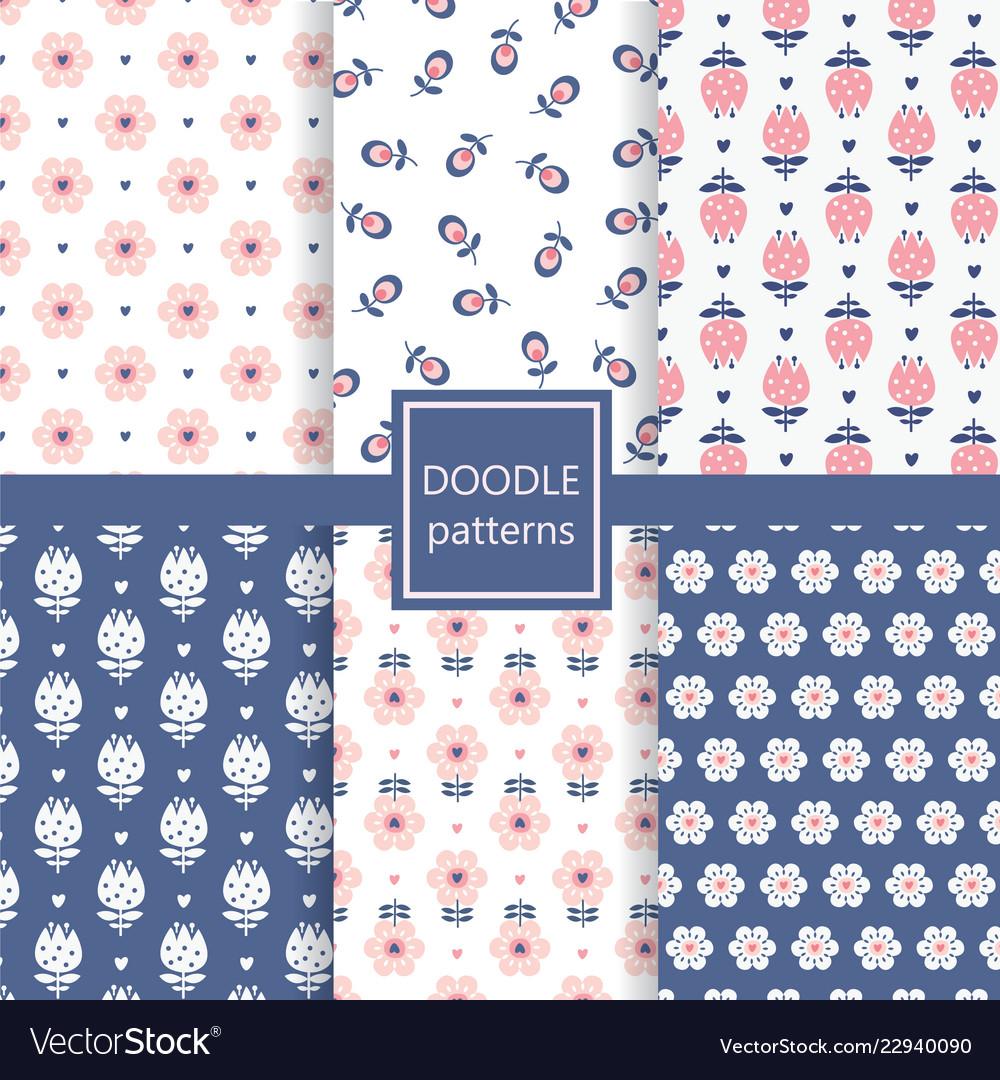Retro floral seamless patterns