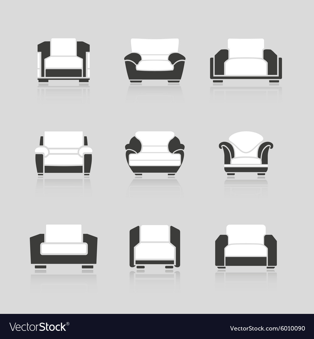 Set of black and white armchairs