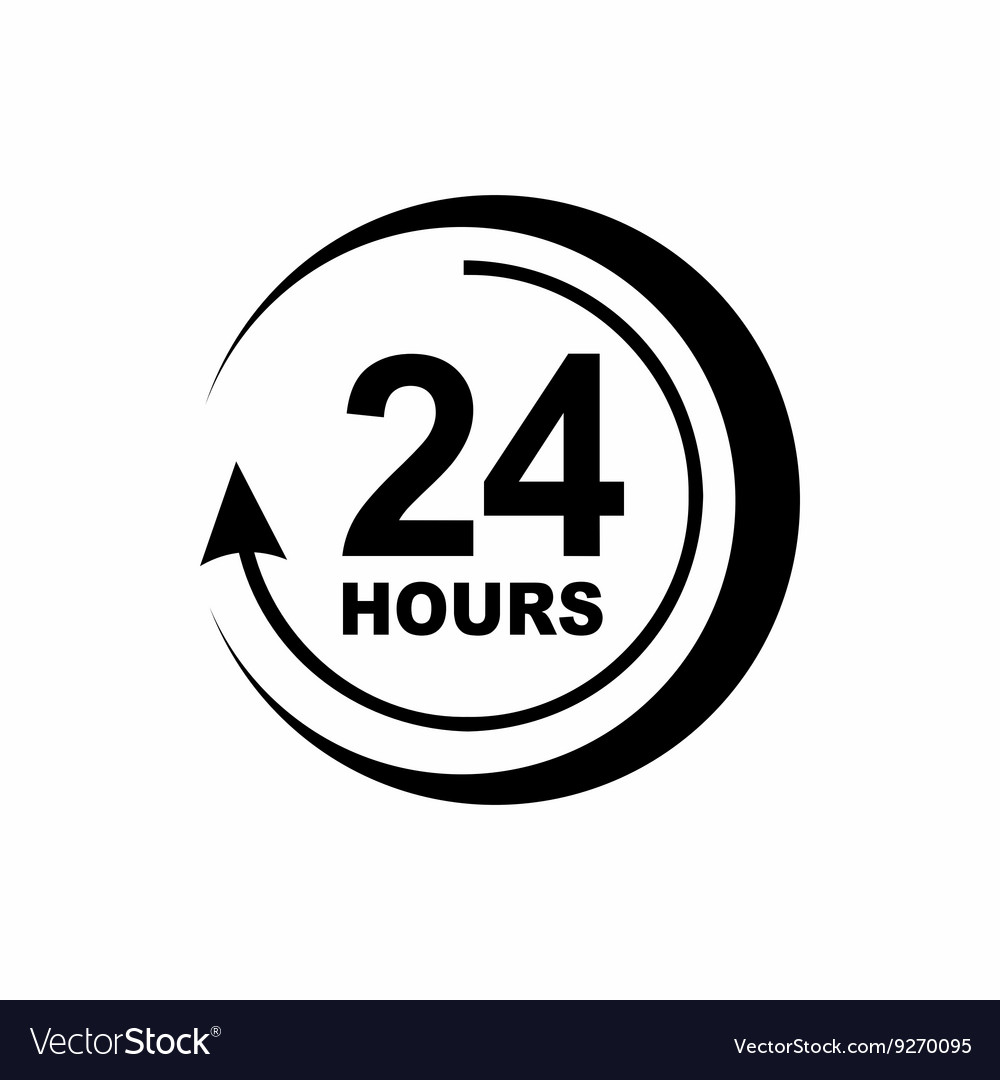 24 hours support icon simple style Royalty Free Vector Image