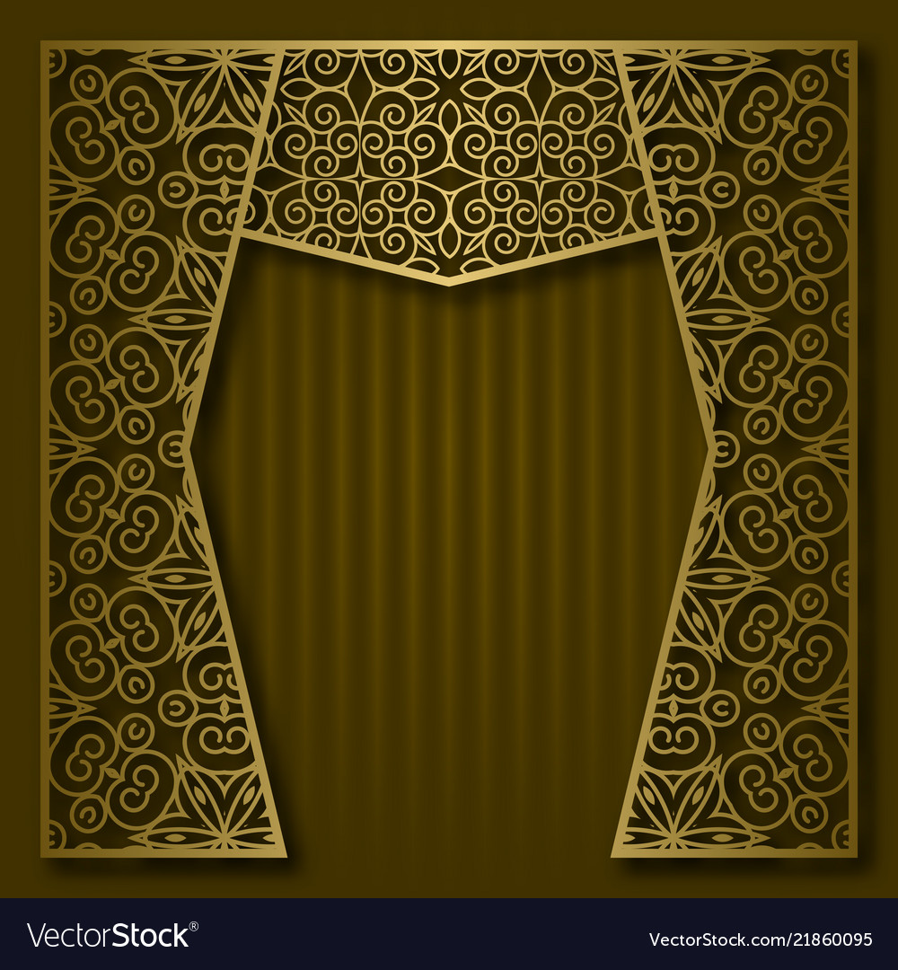 Background with golden patterned arched frame