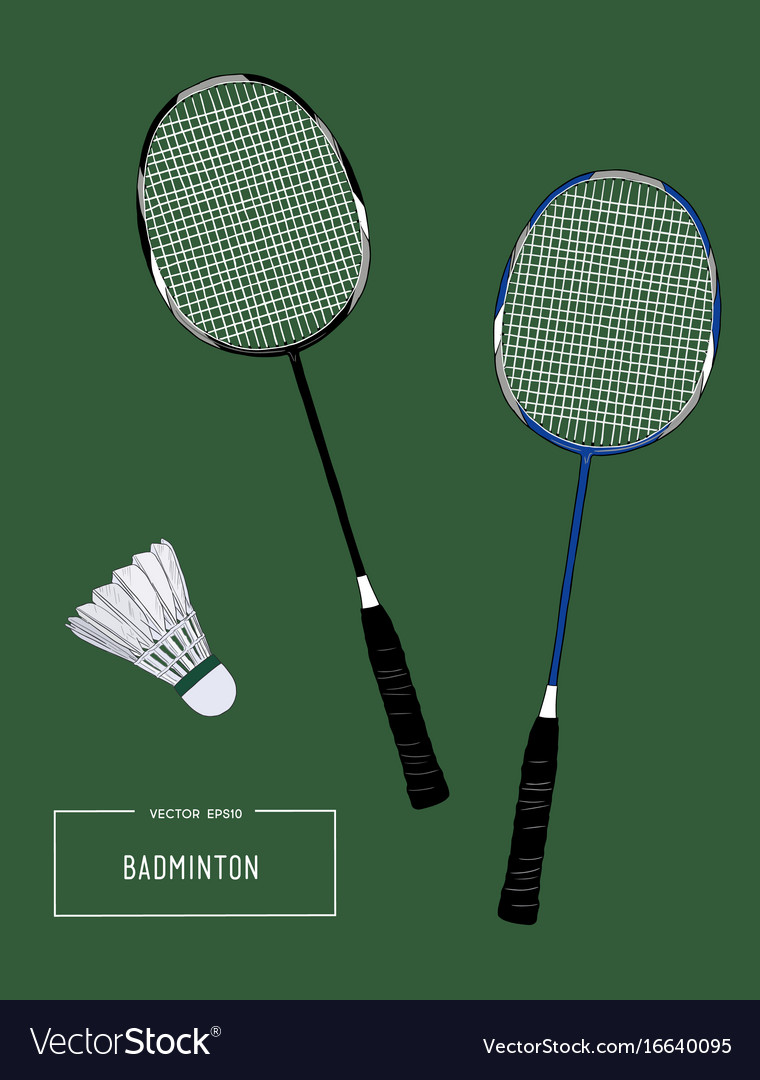 Badminton racket and shuttlecocks sketch