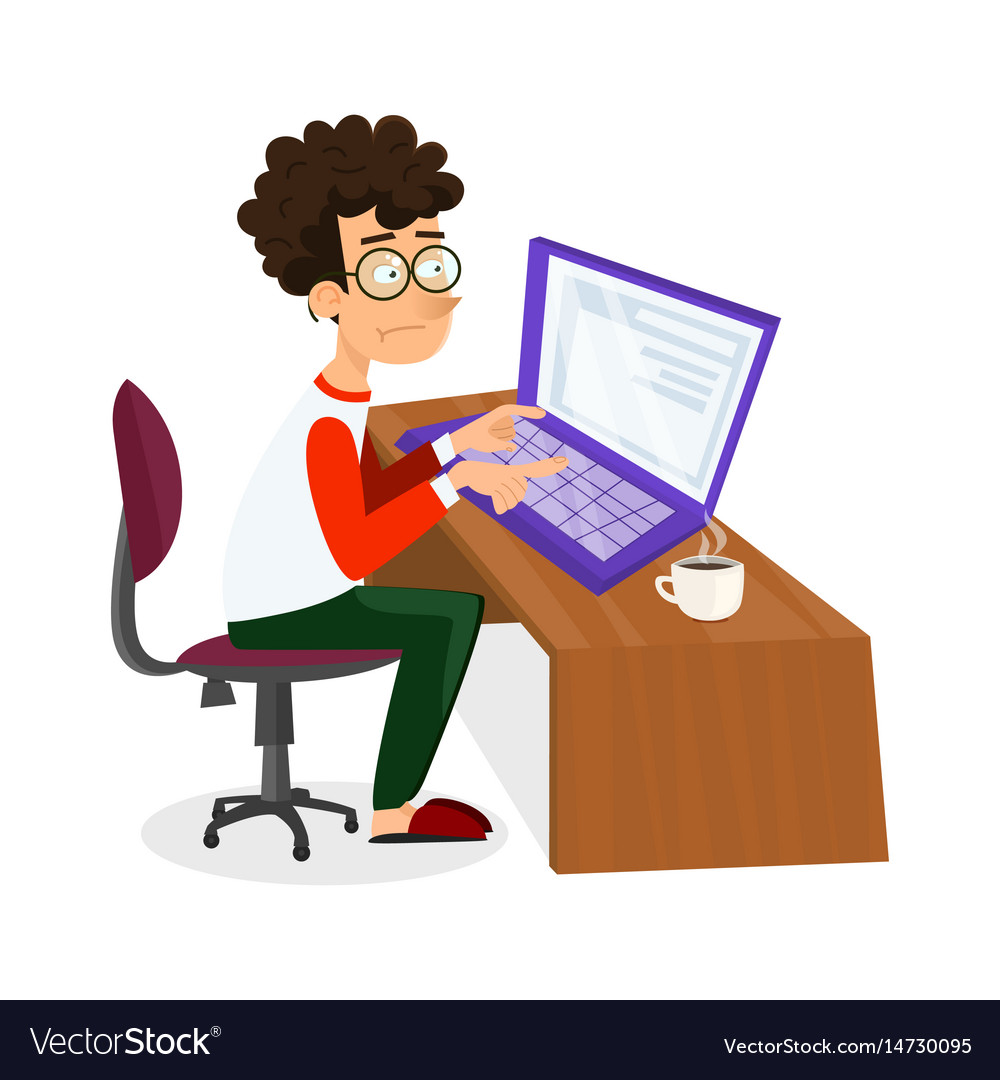 Cartoon Young Programmer Man Is Working