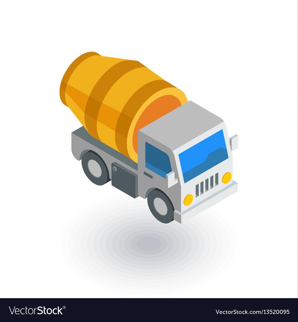 Concrete mixing truck isometric flat icon 3d