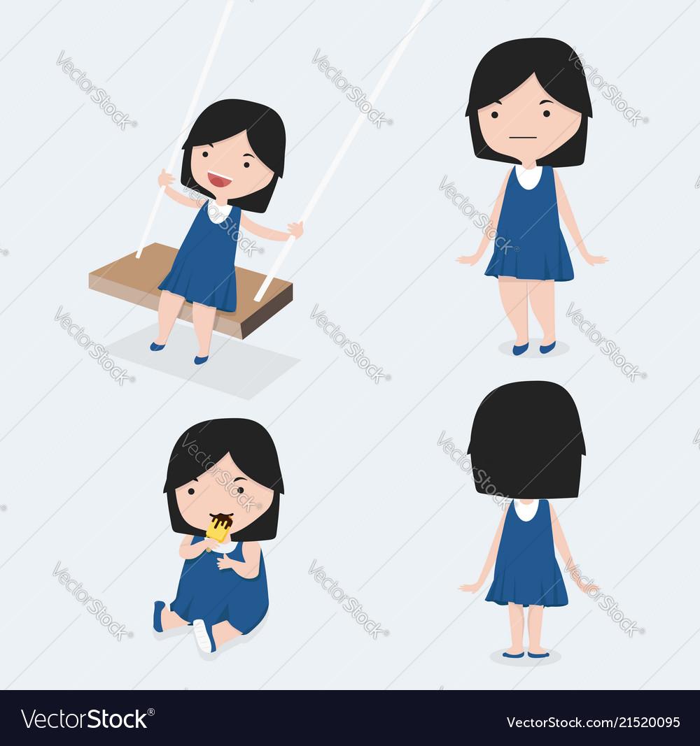 Cute little girl blue dress set