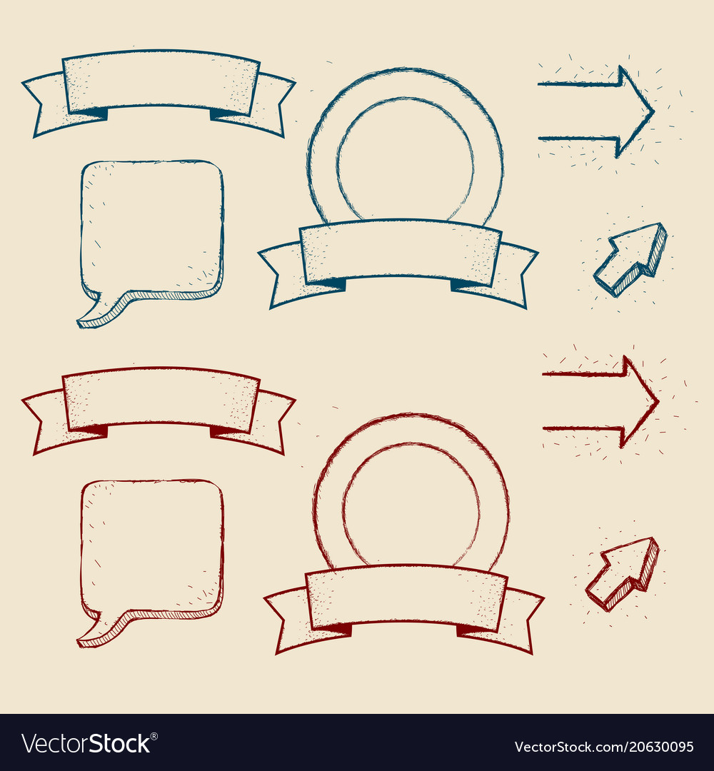 Design elements set hand drawn in a graphic style vector image