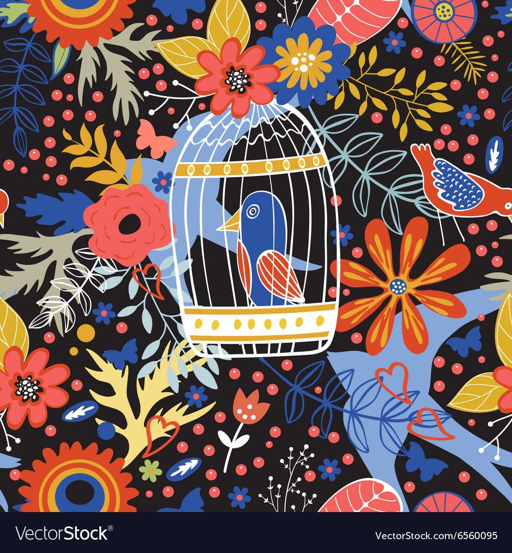 Elegant pattern with flowers bird cages and birds