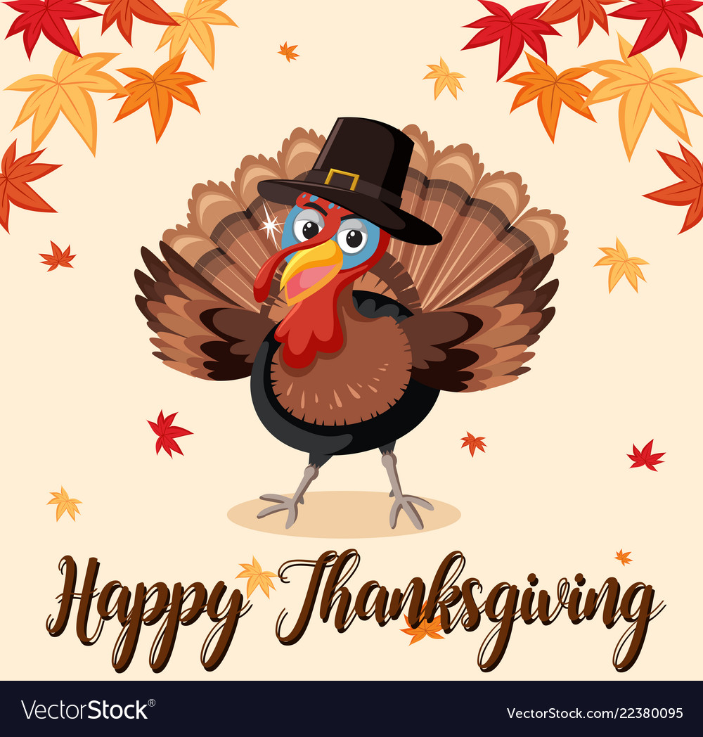 happy thanksgiving turkey template royalty free vector image