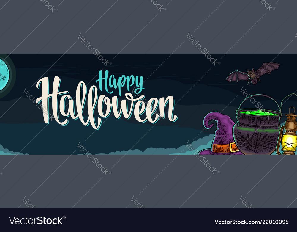 Horizontal poster with happy halloween calligraphy