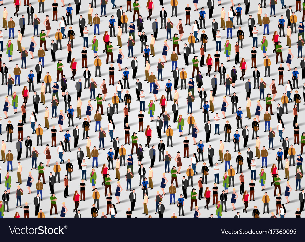 Large group of people crowded on white background