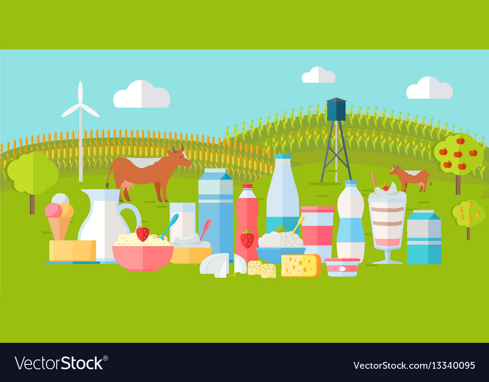 Milk production banner traditional dairy products