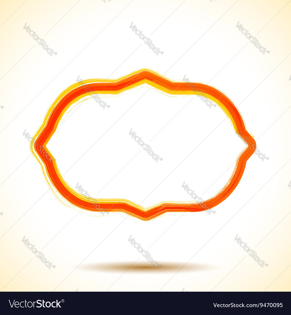 Orange watercolor brush painted ink frame vector image