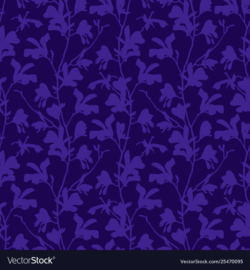 Purple Floral Background With Branch And Magnolia Vector Image