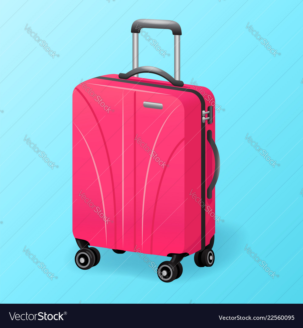 Single pink luggage travel bag isolated - baggage