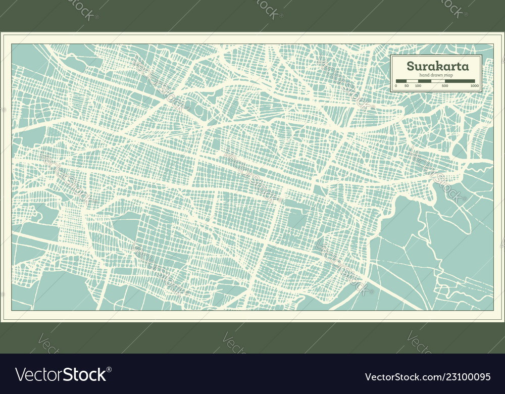Surakarta indonesia city map in retro style