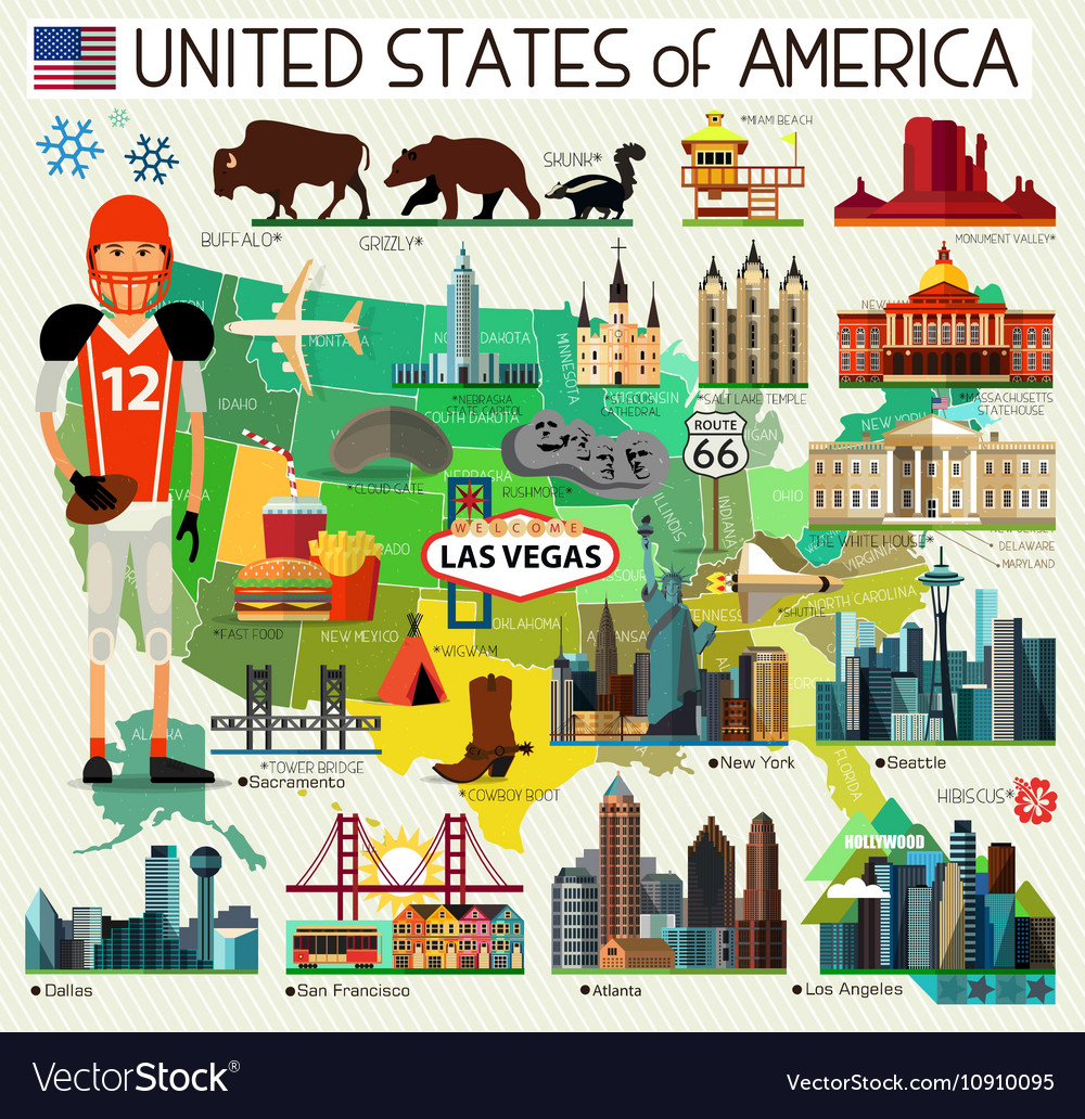 USA Travel Map Royalty Free Vector Image - VectorStock