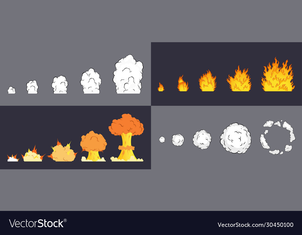 Animation explosion effect in cartoon comic