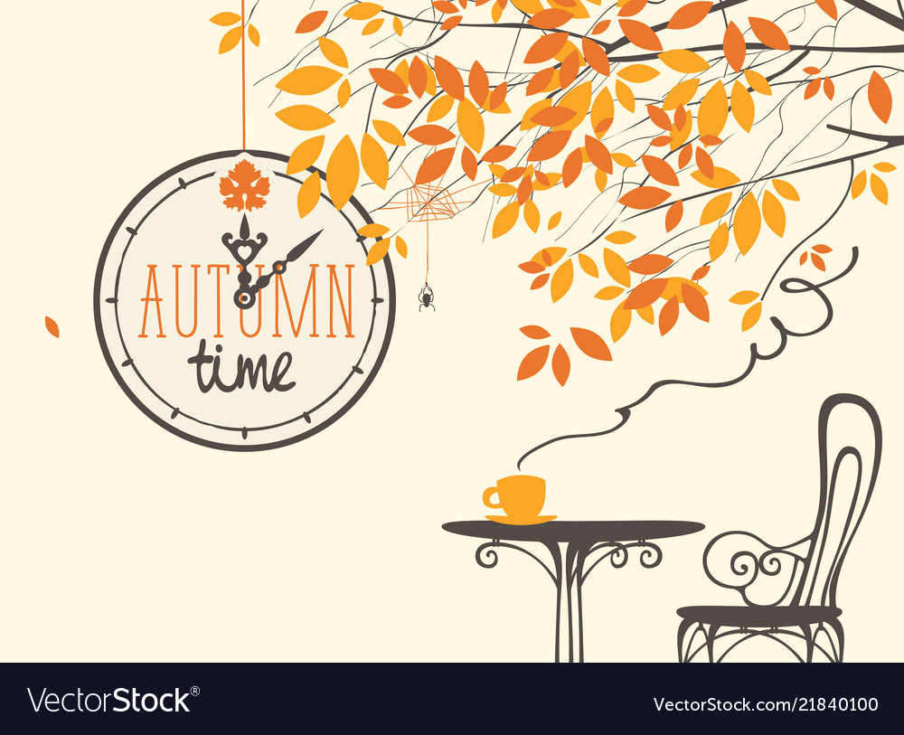 Autumn landscape with street cafe and clock