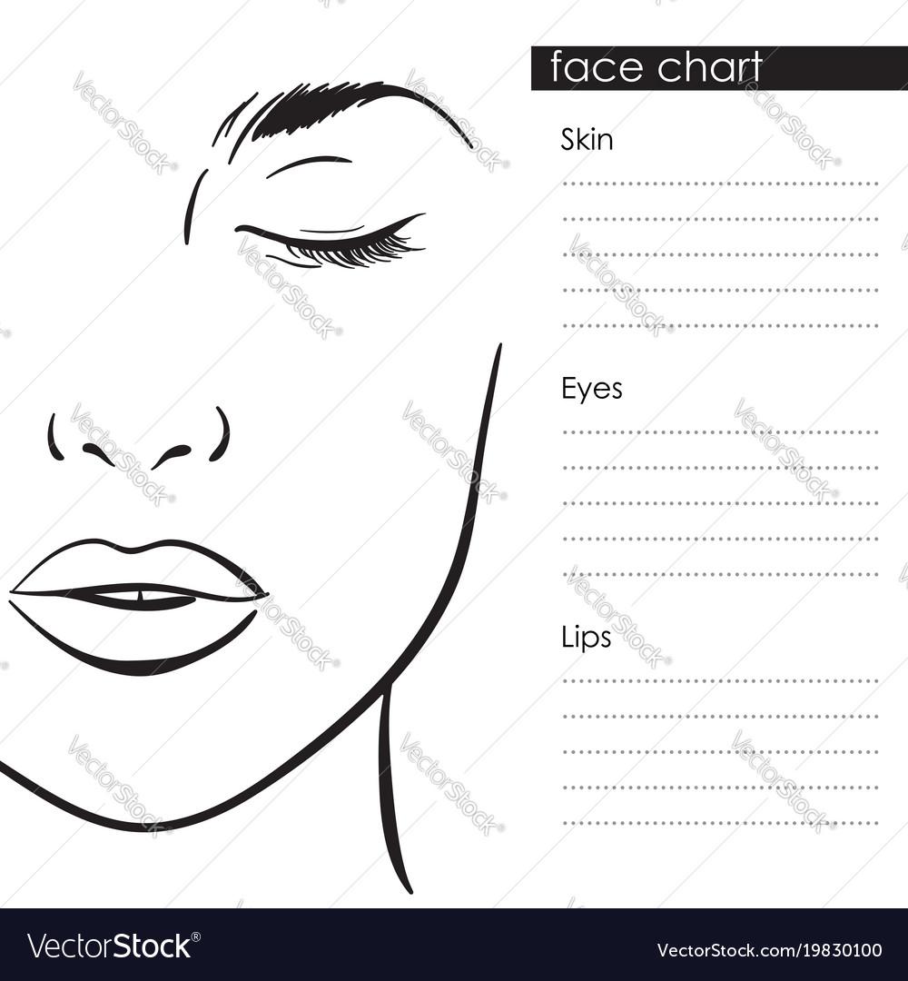 Beautiful woman portrait face chart template