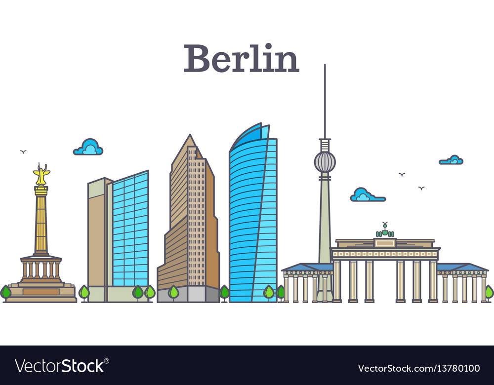 Berlin silhouette skyline panorama city landscape