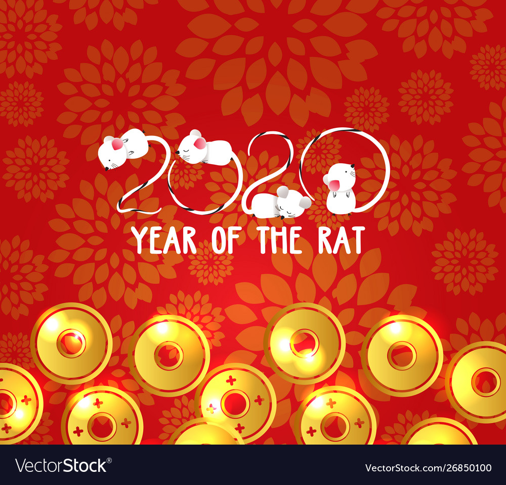 Chinese New Year 2020 Dates.Chinese New Year 2020 Rat Plum Blossom And Coin