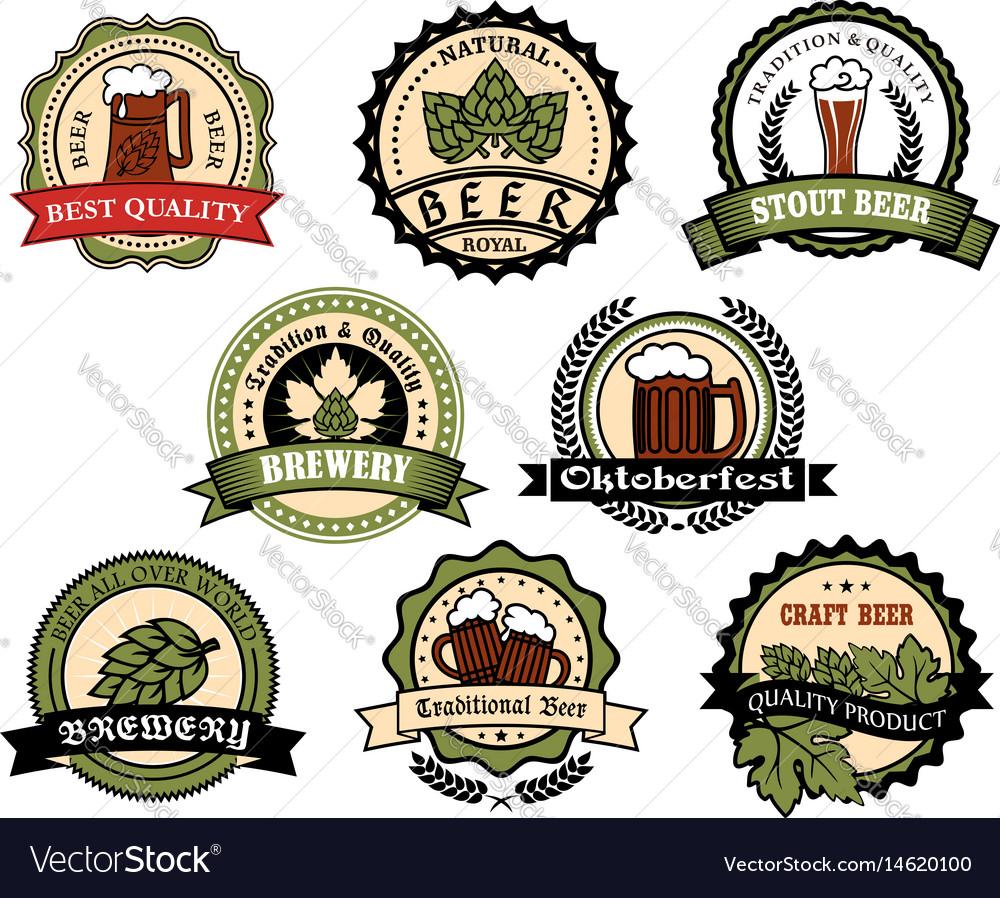 Craft beer ale lager alcohol drinks label set