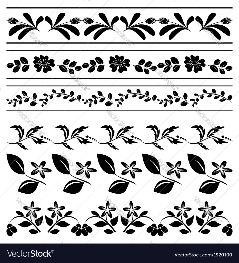 Floral Borders Black Tracery Royalty Free Vector Image