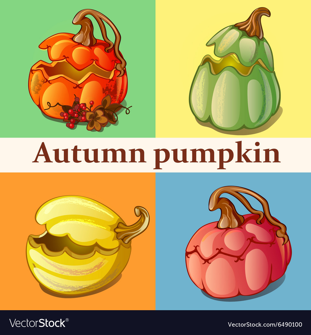 Four icons with pumpkin
