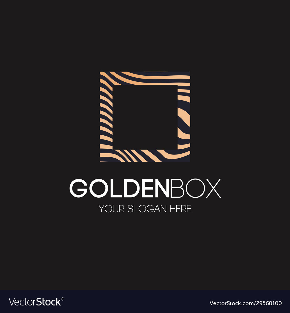 Golden box logo abstract line style