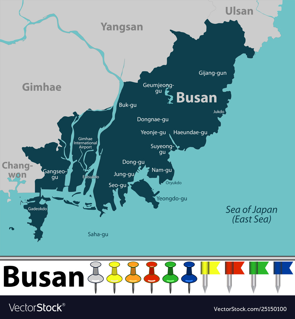 Busan South Korea Map Map busan south korea Royalty Free Vector Image