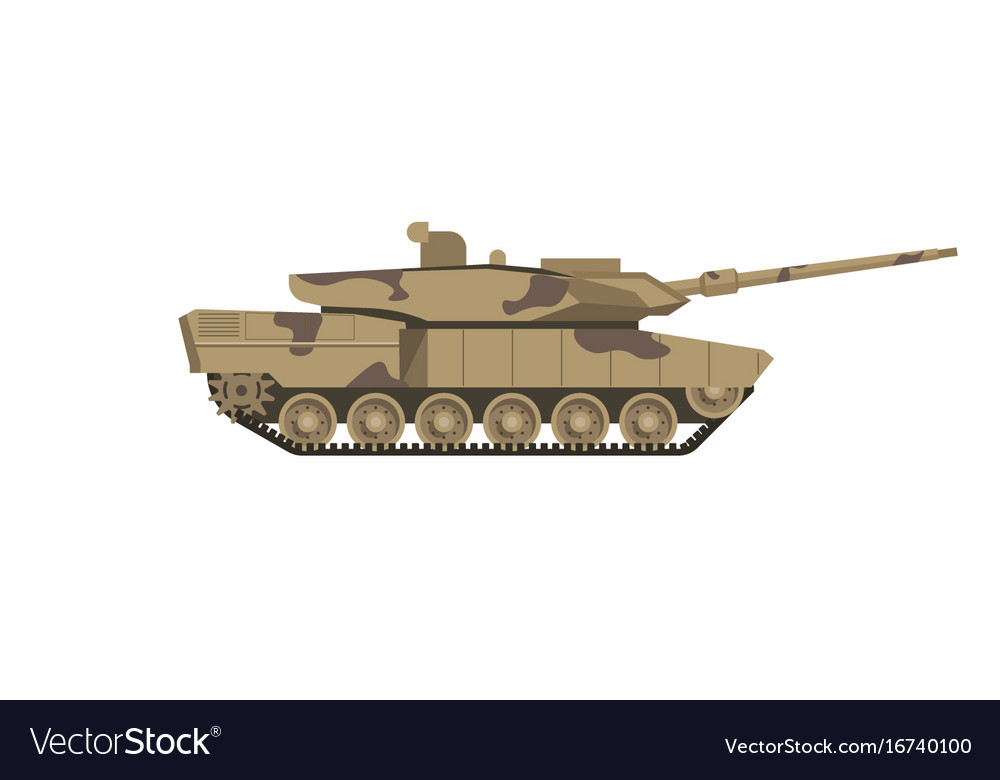 861eef1a4b4cf Military tank of camouflage color isolated cartoon vector image