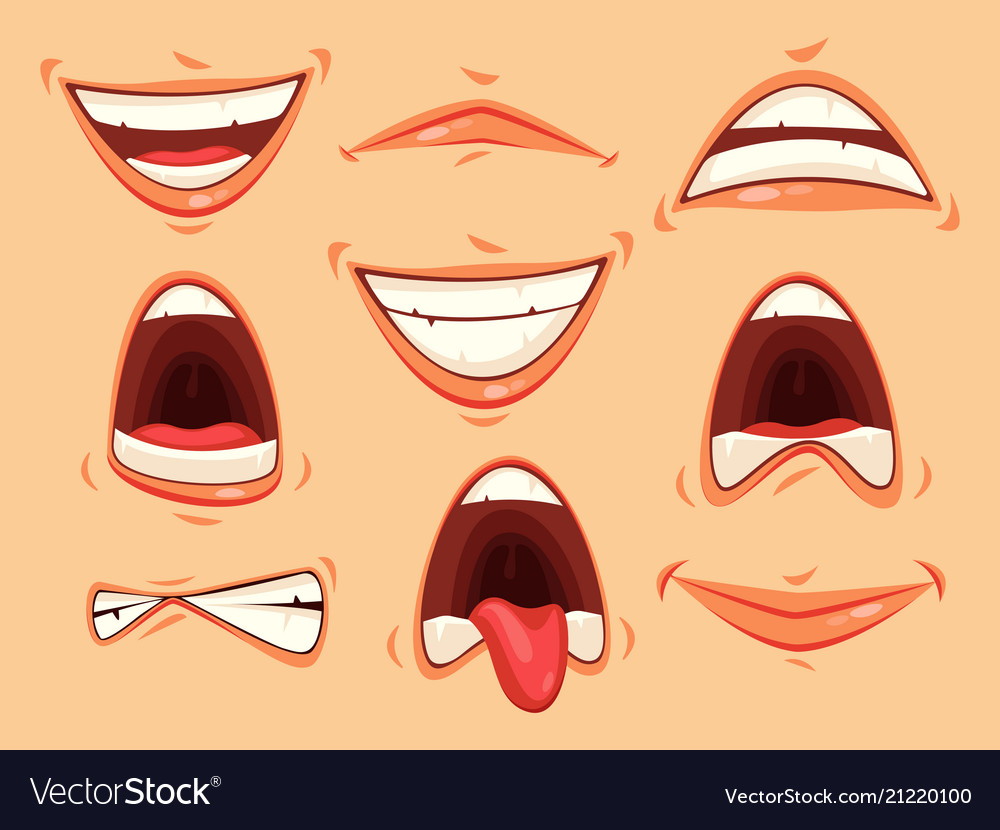 Mouth emotions of smiling and angry scream