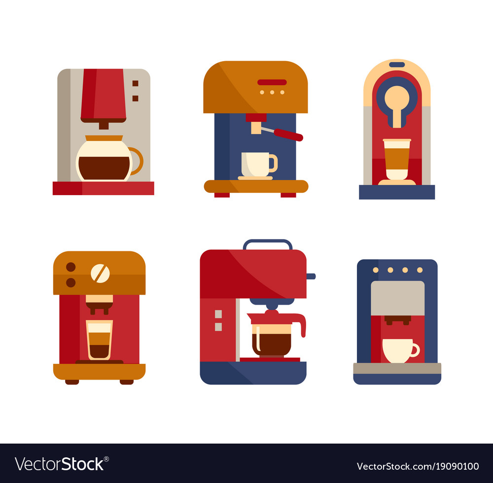 Office coffee machine icons flat style design
