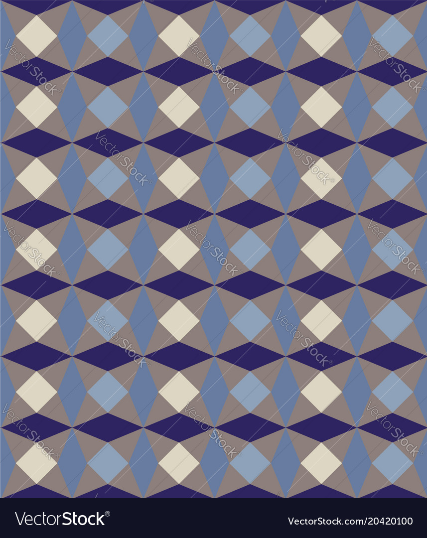 Seamless geometric pattern in blue and brown